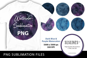 Watercolor PNG Sublimations Dark Blue & Purple Circles