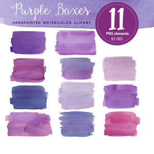 Purple Watercolor Shapes Set: Balls, Boxes & Stripes - slslines