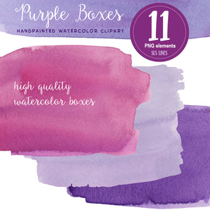 Purple Watercolor Boxes, Splatters and Squares Set - slslines