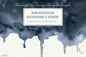 Dark Watercolor Backgrounds & Headers
