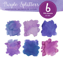 Load image into Gallery viewer, Purple Watercolor Boxes, Splatters and Squares Set - slslines