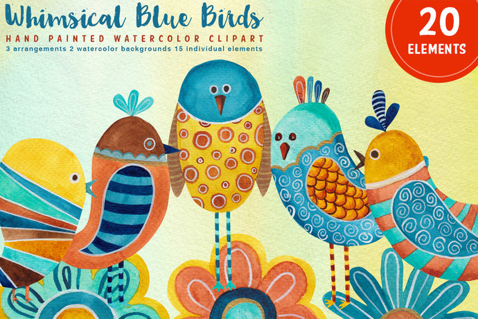 Whimsical Blue Birds Watercolor Clipart Set