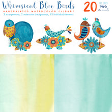 Load image into Gallery viewer, Whimsical Blue Birds Watercolor Set - slslines