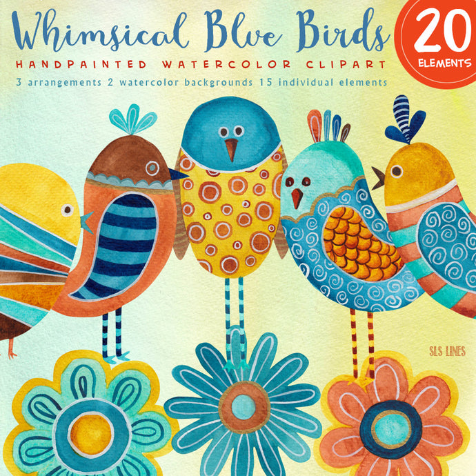 Whimsical Blue Birds Watercolor Set - slslines