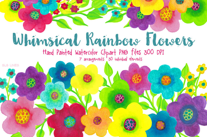 Rainbow Whimsy Flowers, Watercolor PNGs