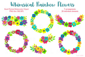 Rainbow Whimsy Flowers, Watercolor PNGs - slslines