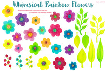 Load image into Gallery viewer, Rainbow Whimsy Flowers, Watercolor PNGs - slslines