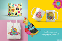 Load image into Gallery viewer, Whimsical Funky Birds & Florals Watercolor Set - slslines