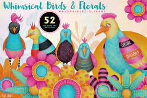 Whimsical Funky Birds & Florals Watercolor Set