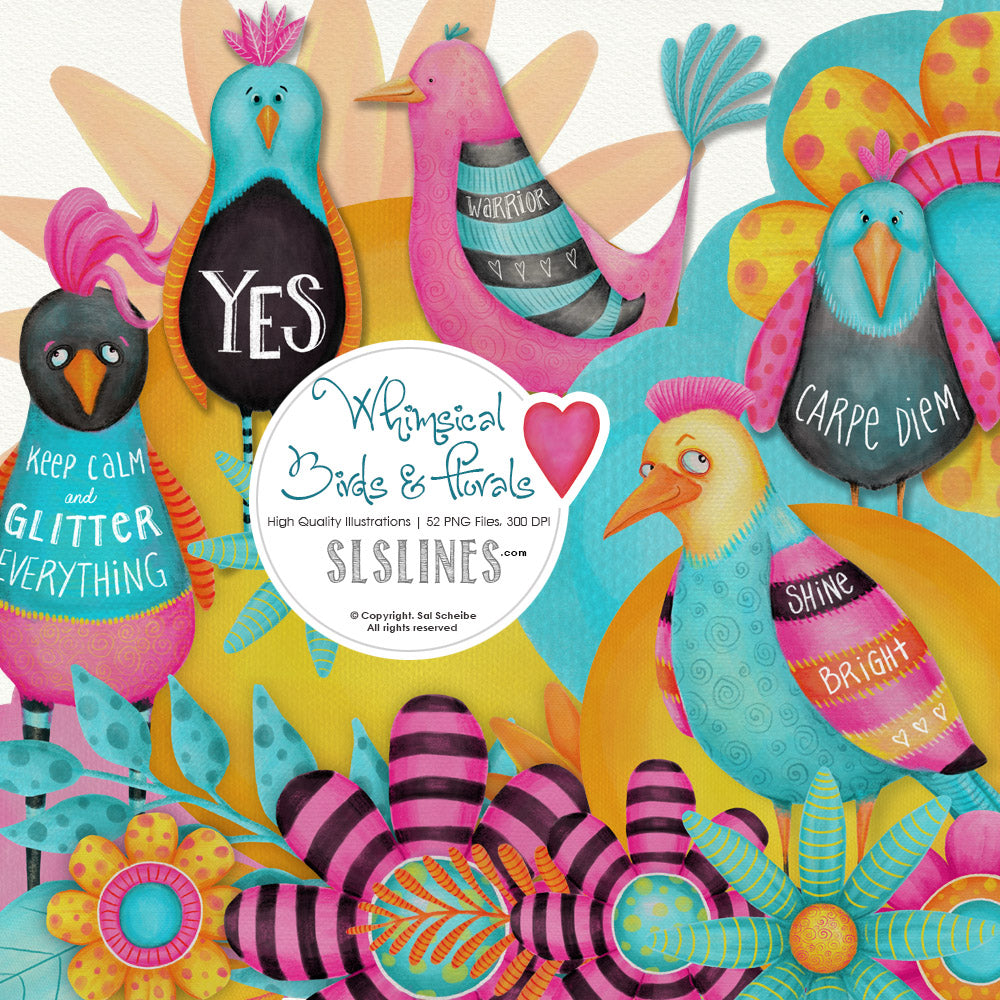 Whimsical Funky Birds & Florals Watercolor Set - slslines