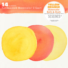 Load image into Gallery viewer, Yellow Watercolor Balls & Ovals Shape Set - slslines