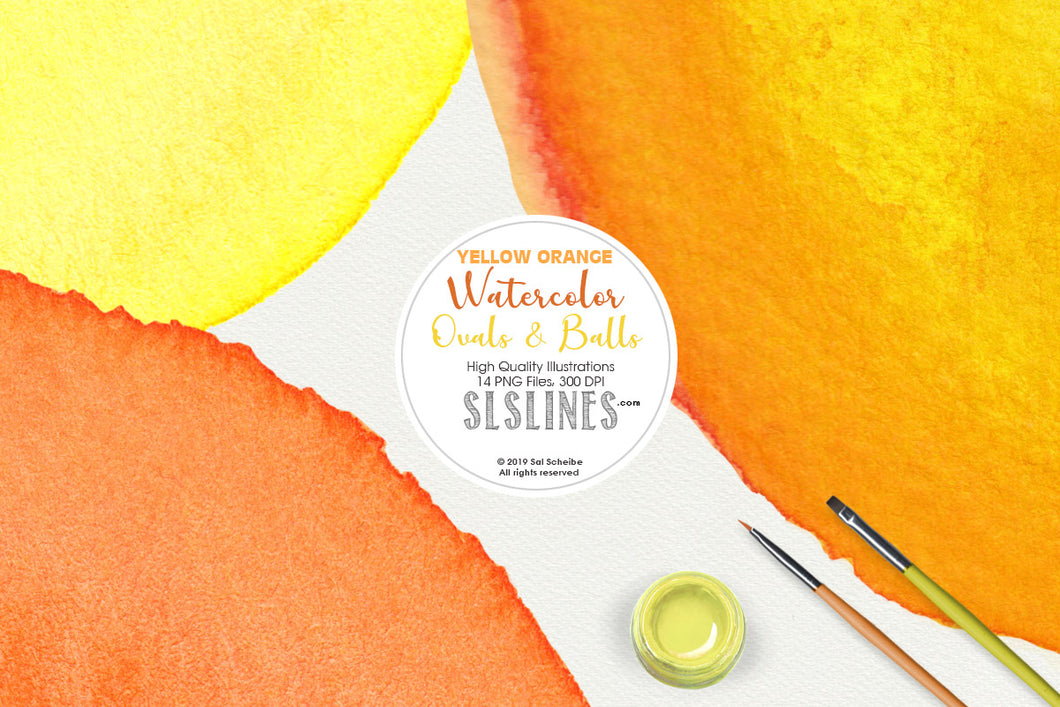 Yellow Watercolor Balls & Ovals Shape Set