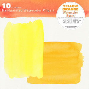 Yellow Orange Watercolor Boxes and Rectangles - slslines