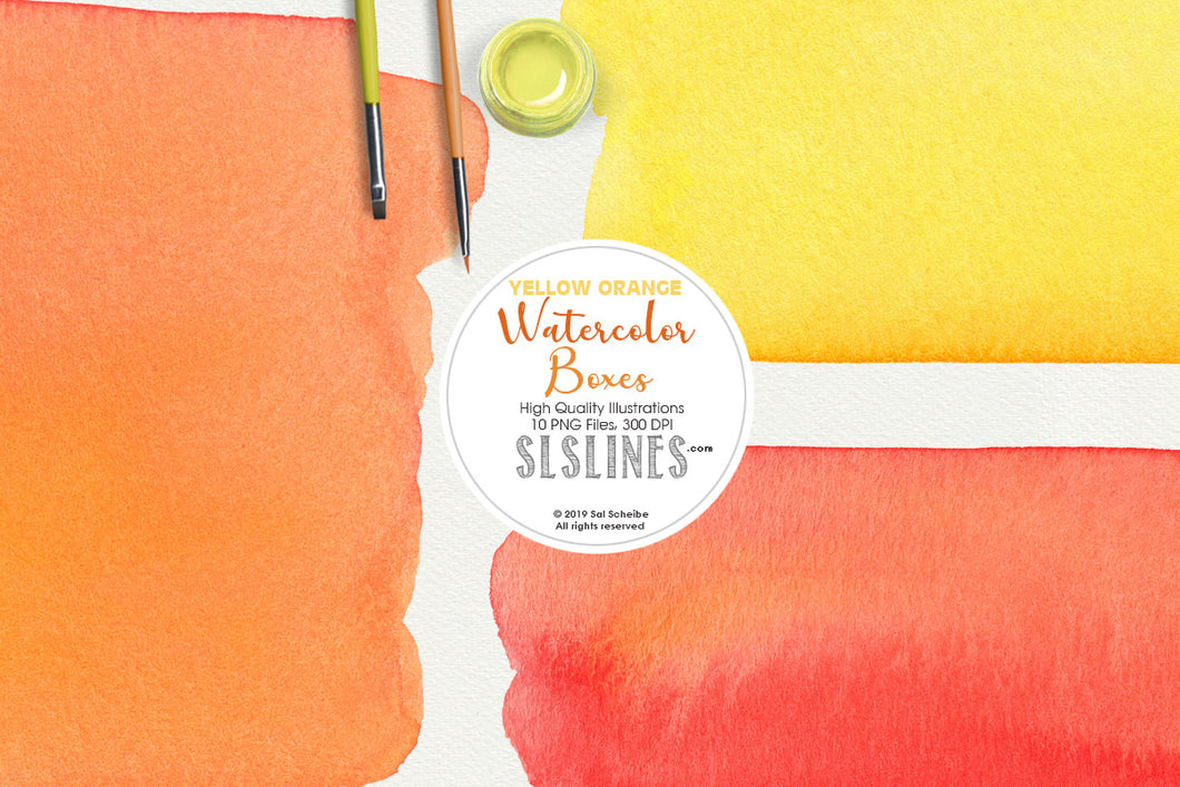 Yellow Orange Watercolor Boxes and Rectangles
