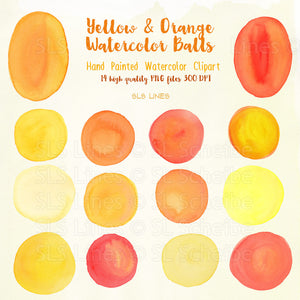 Yellow Watercolor Balls & Ovals Shape Set - slslines