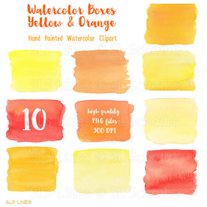 Yellow & Orange Watercolor Shapes: Boxes, Balls & More - slslines