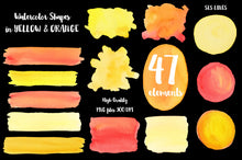 Load image into Gallery viewer, Yellow & Orange Watercolor Shapes: Boxes, Balls & More - slslines