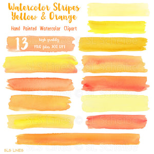 Yellow Orange Watercolor Stripes & Headers - slslines