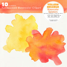 Load image into Gallery viewer, Yellow Orange Watercolor Splatter Shapes - slslines
