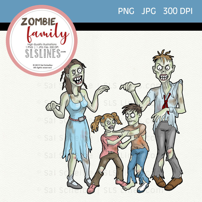 Zombie family PNG graphic