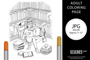 Printable Coloring Page: Young Girl Reading a Book
