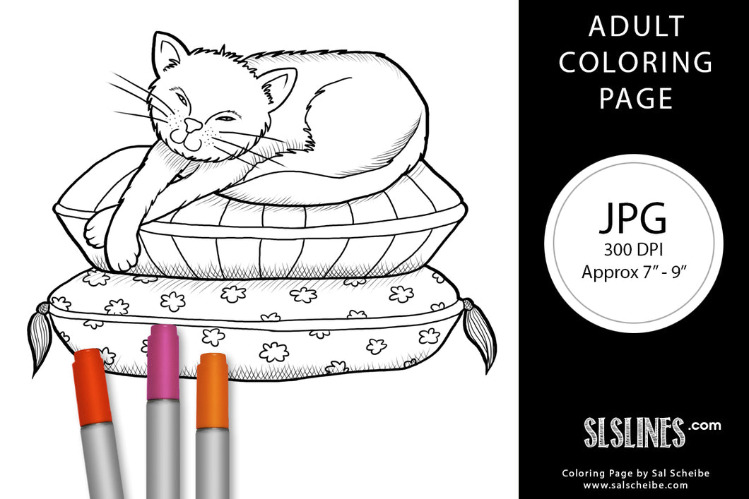 Printable Coloring Page: Lazy Pillow Cat