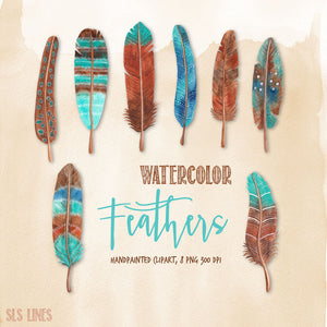 Watercolor Feathers in Pink, Blue & Brown - slslines