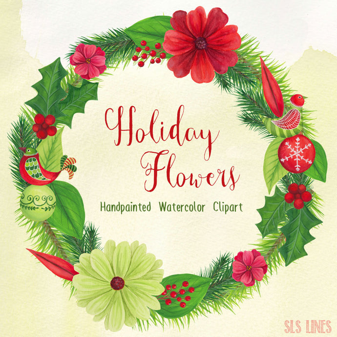 Christmas Holiday Flowers & Birds Watercolor Clipart - slslines