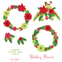 Load image into Gallery viewer, Christmas Holiday Flowers & Birds Watercolor Clipart - slslines