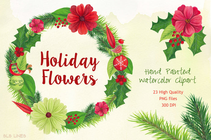 Christmas Holiday Flowers & Birds Watercolor Clipart