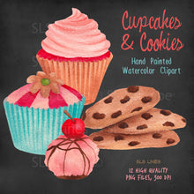 Load image into Gallery viewer, Cupcakes & Cookies Watercolor Clipart - slslines