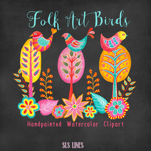 Folk Art Birds & Trees Watercolor Clipart - slslines