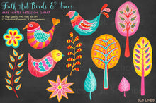 Load image into Gallery viewer, Folk Art Birds & Trees Watercolor Clipart - slslines