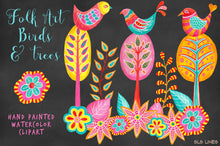 Load image into Gallery viewer, Folk Art Birds & Trees Watercolor Clipart