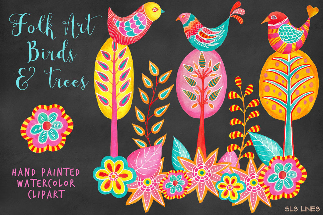 Folk Art Birds & Trees Watercolor Clipart