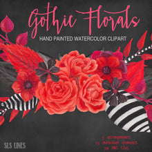 Load image into Gallery viewer, Gothic Florals Watercolor Clipart Red and Black - slslines