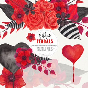 Gothic Florals Watercolor Clipart Red and Black - slslines