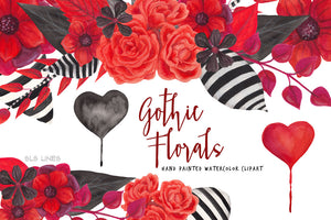 Gothic Florals Watercolor Clipart Red and Black