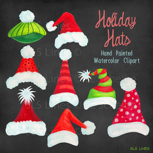 Santa Hats & Blue Snowflake Graphics - slslines
