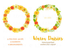 Load image into Gallery viewer, Warm Daisies Watercolor Clipart Set