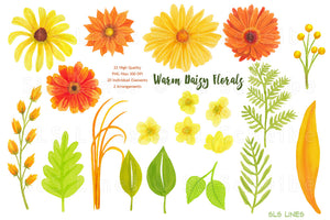 Big floral watercolor clipart bundle
