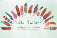 Load image into Gallery viewer, Watercolor Feathers in Pink, Blue & Brown - slslines