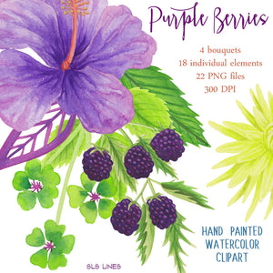 Purple Berries & Flowers Watercolor Clipart Set - slslines