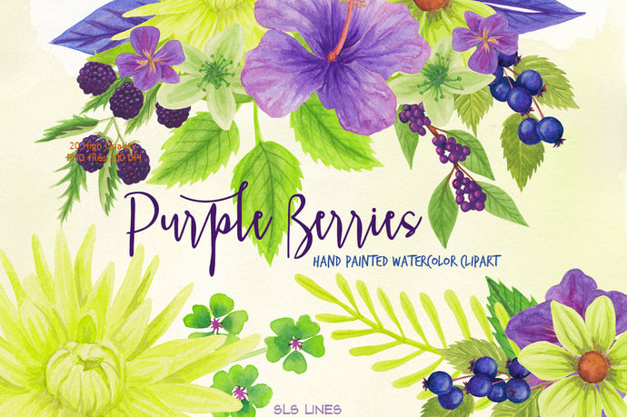 Purple Berries & Flowers Watercolor Clipart Set