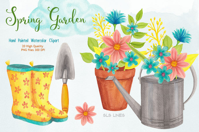Spring Garden & Boots Watercolor Set