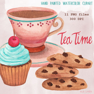 Tea Time & Cookies Watercolor Set - slslines