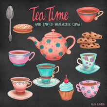 Load image into Gallery viewer, Tea Time & Cookies Watercolor Set - slslines