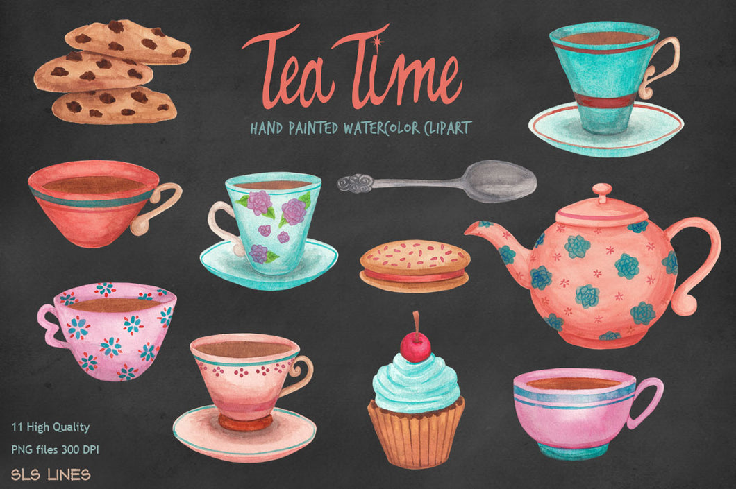 Tea Time & Cookies Watercolor Clipart Set