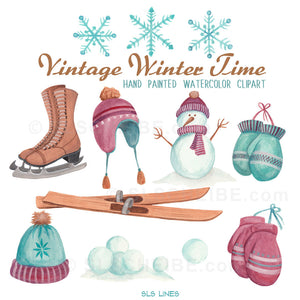 Vintage Winter Sports Watercolor Set - slslines