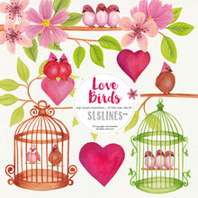 Load image into Gallery viewer, Love Birds with Branches & Flowers Watercolor Clipart - slslines